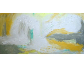 DISTANT SUN ORIGINAL Abstract Large Canvas, Original Painting White Grey Yellow Minimalist Artwork by Luiza Vizoli