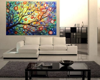Whimsical Painting SUMMER to FALL MUSIC Large Canvas Whimsical Landscape Sunset Artwork by Luiza Vizoli