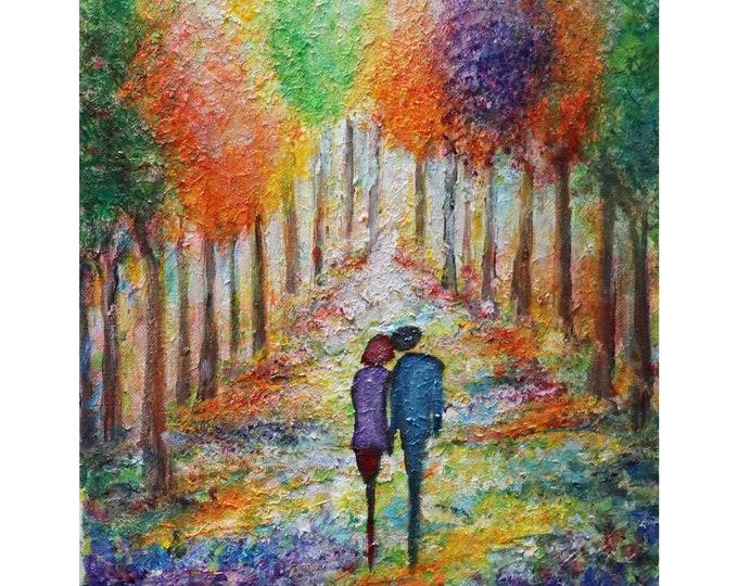 Spring Blossom Romance Original Oil Painting  Flowers Trees Landscape Art by Luiza Vizoli
