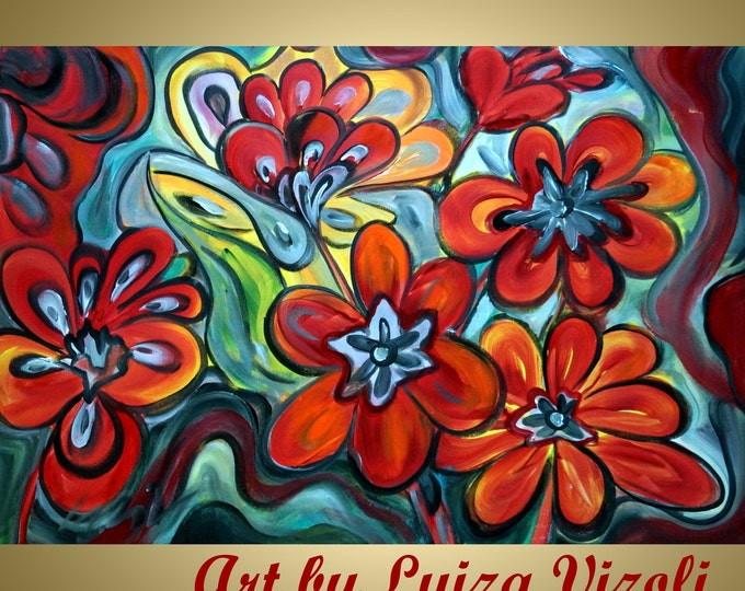 RED FLOWERS Abstract Floral Edwardian Original Painting Boho MORNING Talk Colorful Art