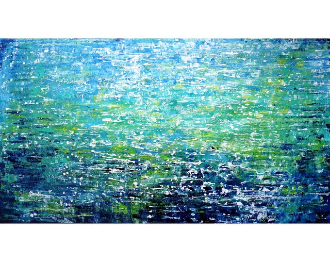 Limitless Ocean ABSTRACT WATER 60x36x1.5 ready to hang  Blue White Green Extra Large Painting Sky Sea Original Painting
