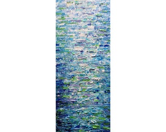 Abstract Water Reflections Good Morning Ocean Beach Sea Painting Canvas Impasto Oil Painting Art by Luiza Vizoli ready to ship