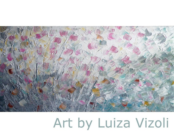 Abstract Flowers White Gray Pink Cream Painting Impasto Textured Expressionist Canvas by Luiza Vizoli