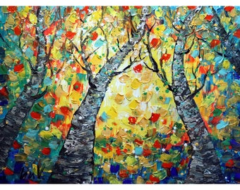 Fall Trees Oil Painting Original Art on Large Canvas Impasto Textured Artwork SYMPHONY OF LEAVES