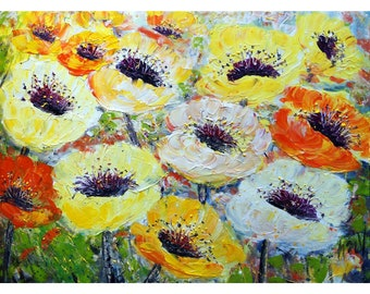 HAPPY Flowers from my SUMMER Garden Impasto Large Oil Painting White Yellow Orange Cream Poppy Floral Art by Luiza Vizoli