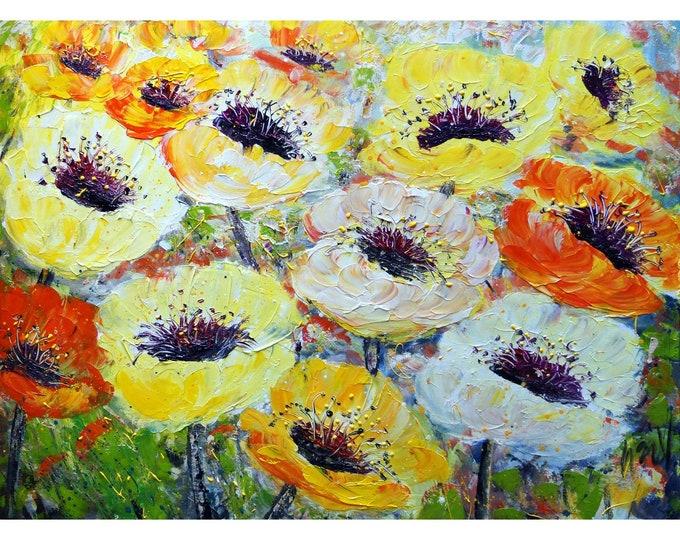 HAPPY Flowers from my SUMMER Garden Impasto Large Oil Painting White Yellow Orange Cream Poppy Floral Art by Luiza Vizoli