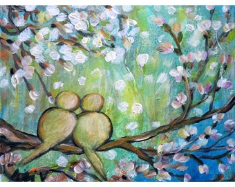 SPRING LOVE Raining Cherry Flowers Birds Cherry Blossom Abstract Whimsy Colorful Painting