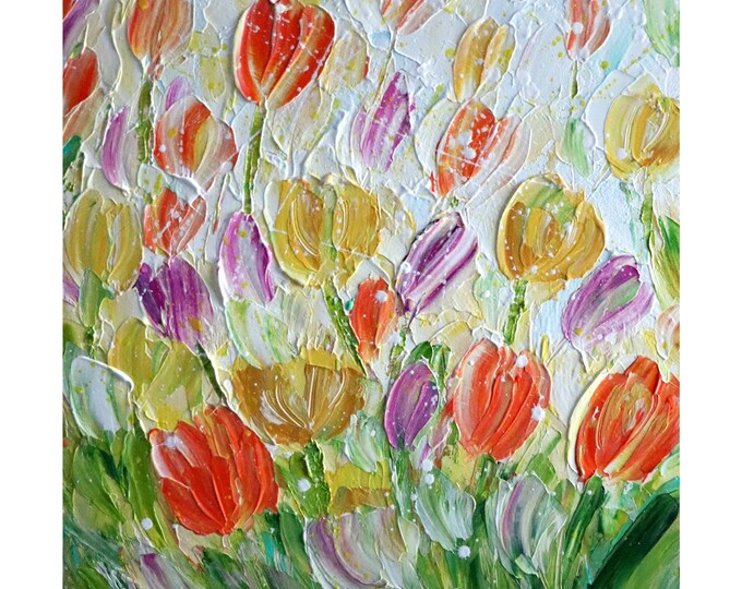 SPRING Symphony of TULIPS Original Oil Painting Modern Canvas Art by Luiza Vizoli