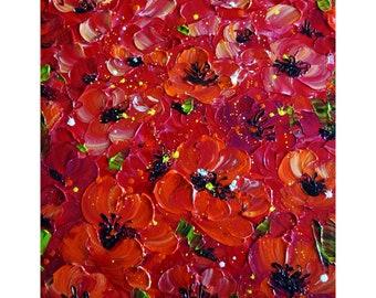 Sicilian Red Flowers POPPY OIL Impasto Original Painting Art by Luiza Vizoli