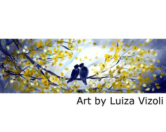 KISS ME Original Painting Huge Canvas Whimsical Love Birds Trees Flowers Painting by Luiza Vizoli different sizes available