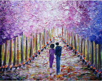 SPRING Lilacs in Bloom Park ROMANCE Original Oil Painting Impasto Textured Modern Art Landscape Ready to Ship
