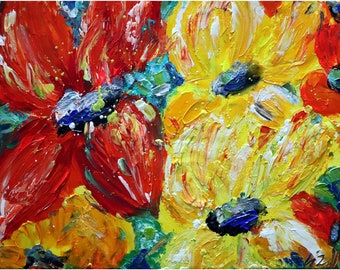 Summer Happy Flowers Red Yellow PETUNIAS Blue Original Handmade Painting Modern Artwork