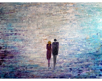 Morning Sunshine Couple Holding Hands Original Large Painting in shades of lavender, silver, gray, blue, gold, aqua  Ready to Ship