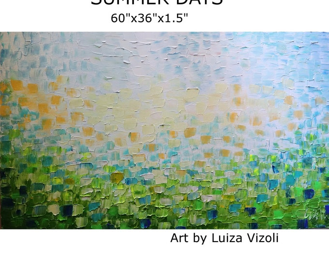 Extra Large Painting 60x36 SUMMER Abstract Original Art Blue Aqua Green White Beach Landscape Scenery Impasto XXL Canvas Ready to Hang