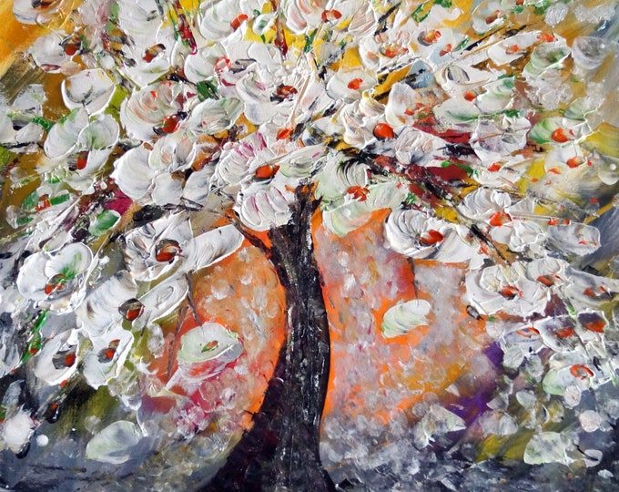 Spring Magnolia Tree Impasto Oil on Canvas Textured Art by Luiza Vizoli