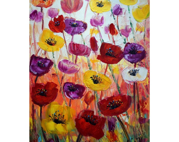 TULIPS Original Oil Painting Spring Colorful Flowers Palette Impasto Art by Luiza Vizoli