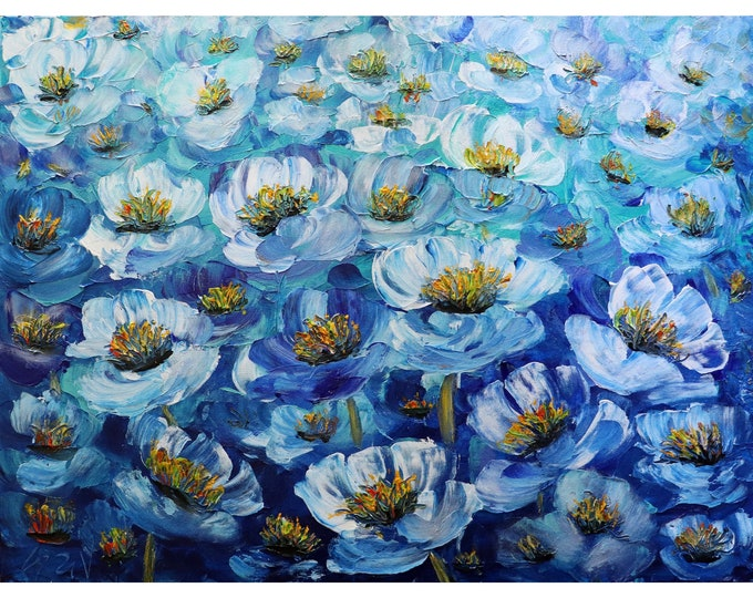 Blue FLOWERS Original Painting Impasto Textured Modern Art Anemones Large Canvas