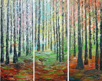 Summer Afternoon Trees Landscape Triptych Format Oil Impasto Large Original Painting Multi Panel ready to ship