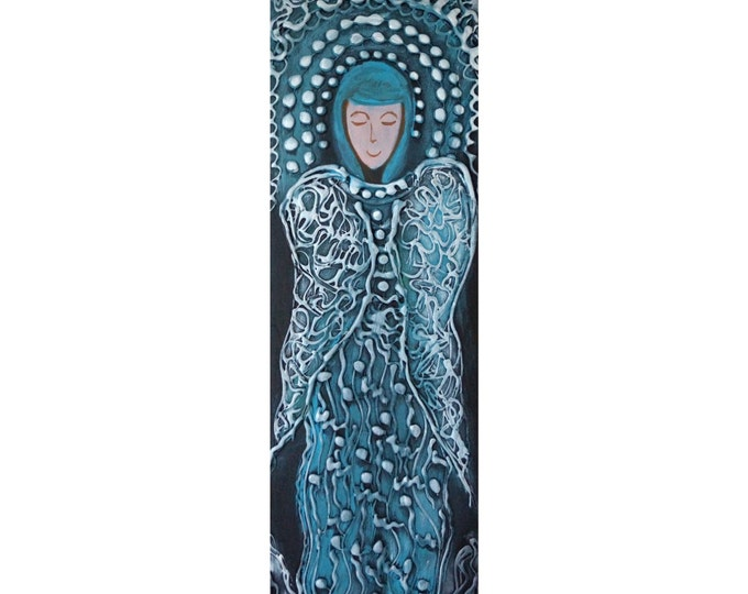 WINTER ANGEL Original Modern Abstract Icon on Wood Spiritual Religious Painting