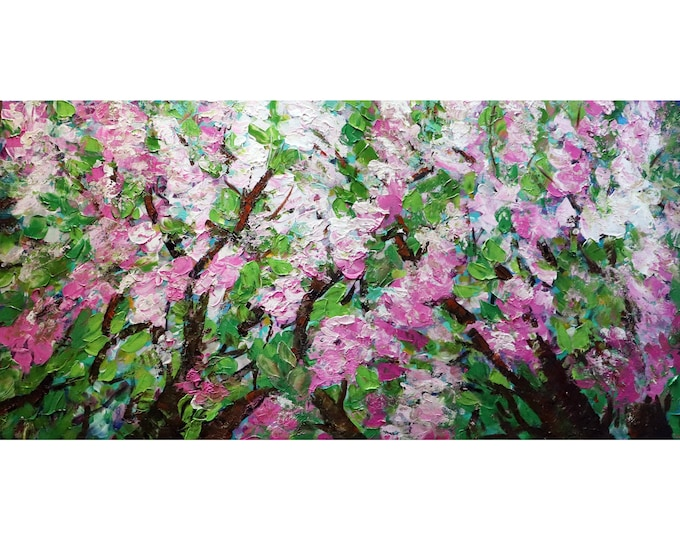 SAKURA Cherry Blossoms Original Painting Large Canvas freshly made in shades of pink white and Green