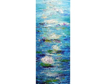Water LILIES White Blue Tall vertical wall art ORIGINAL PAINTING abstract, Long Narrow wall decor for staircase, bathroom, kitchen, entryway