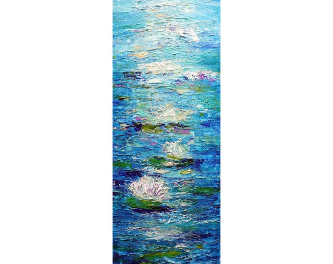 Water LILIES White Blue Tall vertical art ORIGINAL PAINTING abstract wall decor for staircase, bathroom, kitchen, entryway ready to ship
