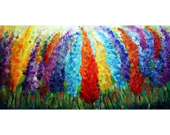In Harmony Windy Flowers Original Handmade Beautiful Colorful OIL Painting for Every Home Decor Style