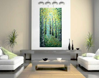 XXL BIRCH Trees SPRINGTIME Extra Large Canvas Original Oil Painting on Canvas Art by Luiza Vizoli 60x36, 48x24