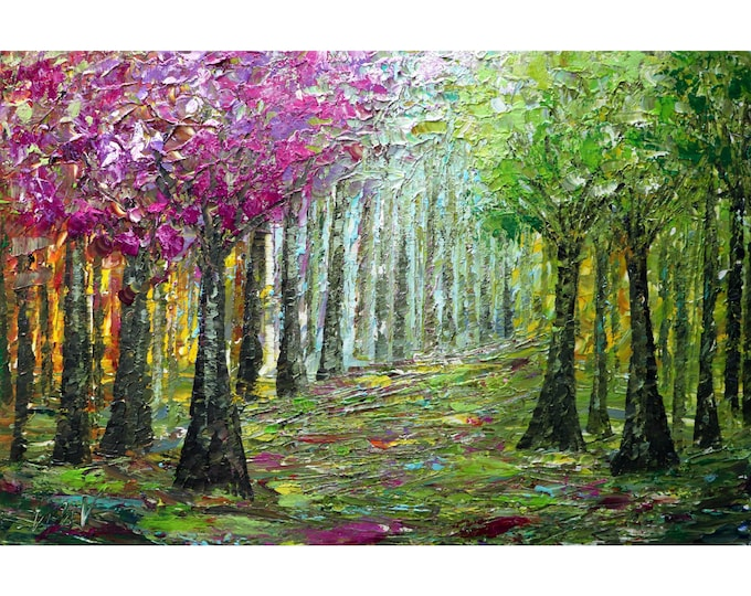 Spring Music Morning in the Forest Original Painting Palette Impasto Colorful Canvas Art by Luiza Vizoli