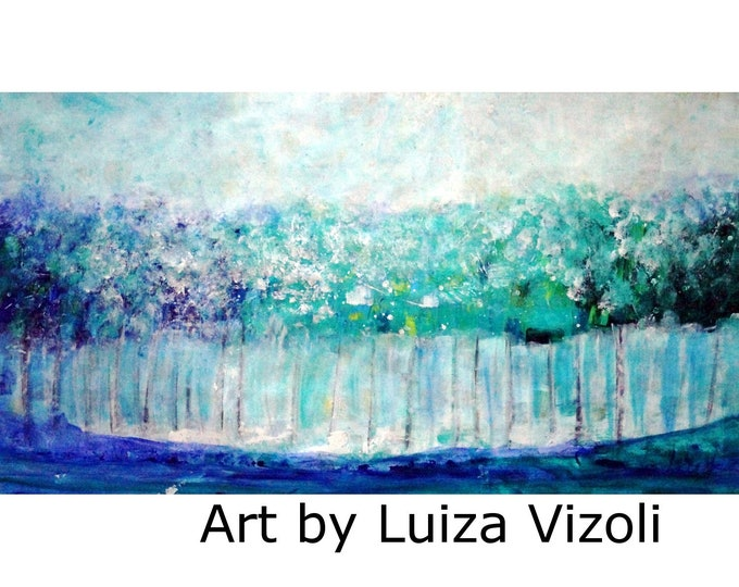Blue Turquoise Abstract 72x36 Oil Painting Trees in the Rain large canvas  Ready to Ship Art by Luiza Vizoli