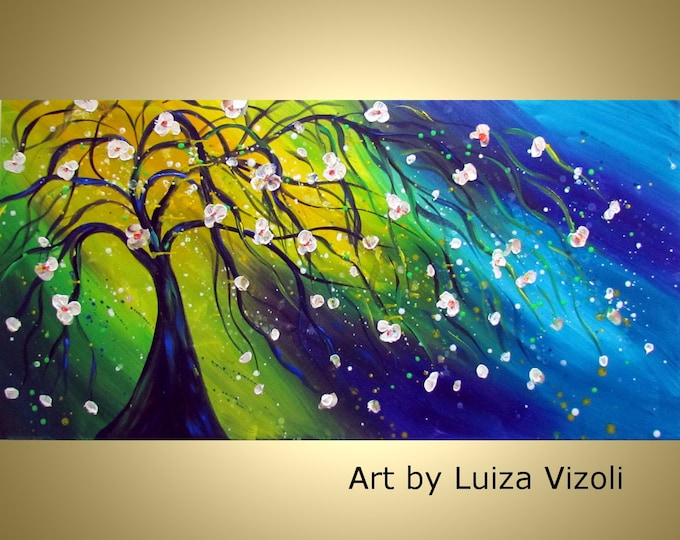 SUMMER BLUE MUSIC Original 120x48 Modern Tree Landscape Painting  Large Canvas Art by Luiza Vizoli Other Dimensions available