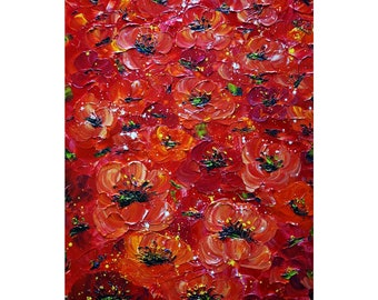 RED POPPIES Impasto Oil Painting Large Textured Painting TUSCANY Italy