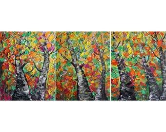 FALL Colors Minnesota Painting Landscape BIRCH Trees and Seasons Triptych Art Colorful Impasto Large Artwork by Luiza Vizoli