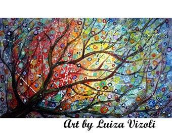 Seasons of Joy 60x36 EXTRA LARGE  Tree Painting Ready to Ship Sunset Landscape Art by Luiza Vizoli