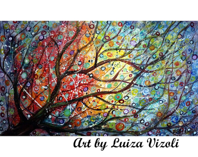 Seasons of Joy 60x36 EXTRA LARGE  Tree Painting Ready to Ship Sunset Landscape Art by Luiza Vizoli