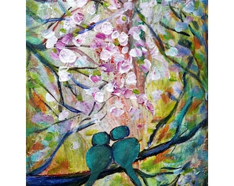 SPRING LOVE Turquoise Birds Cherry Blossom Abstract Whimsy Colorful Painting Original Art on Canvas by Luiza Vizoli