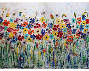 Colorful Flowers on White Summer Daisy Delight Large Oil Painting Ready to Ship 48x36