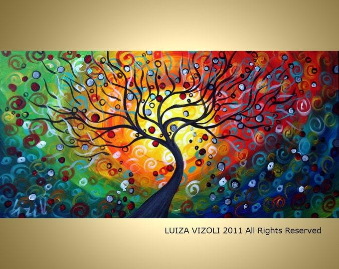 SEASONS  Large 60x36,72x36 Modern Abstract Fantasy Tree Landscape Large canvas Original Painting by Luiza Vizoli