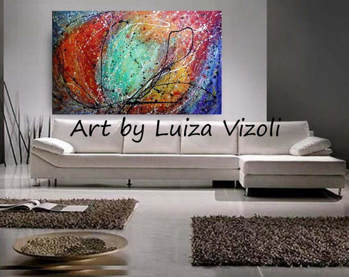 XXL Abstract LIGHT Original modern style office painting The Tale of the ROSE Large Canvas Ready to Ship Art by Luiza Vizoli