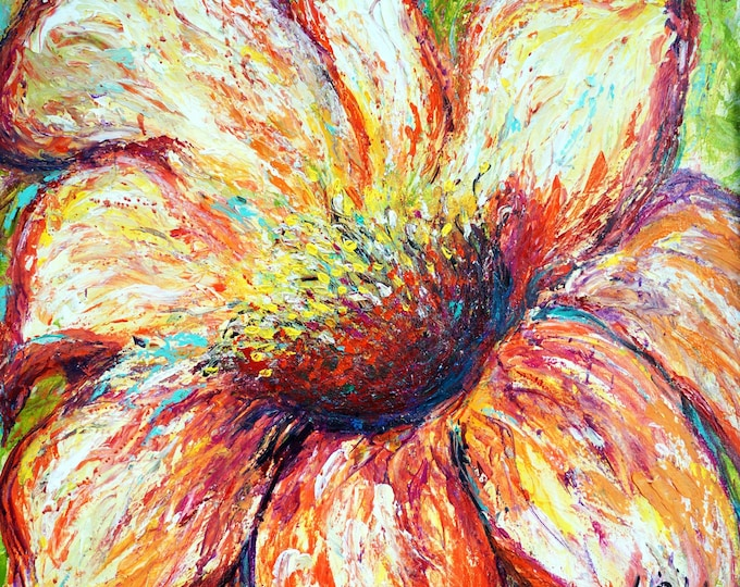 Peach Flower Close-up Oil Painting Impasto Original Painting bu Luiza Vizoli