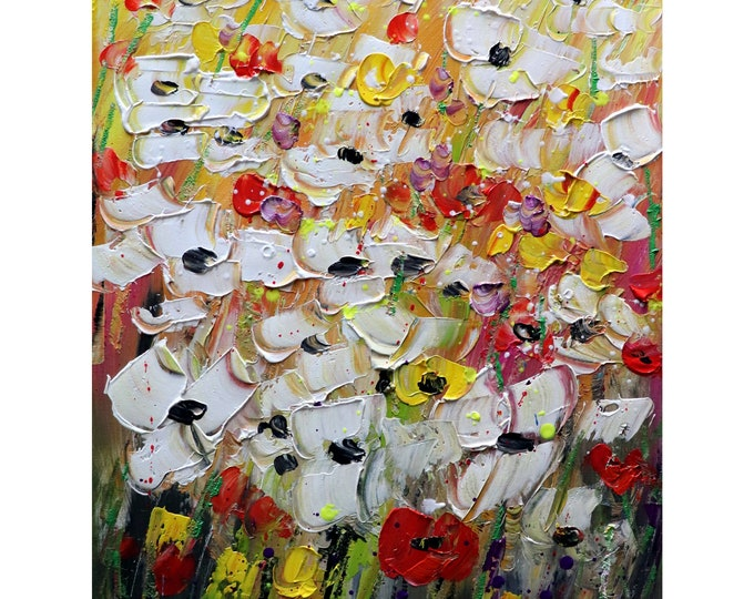 Flowers Abstract Original Painting FRESH from the FIELD Oil Textured Art Ready to Ship