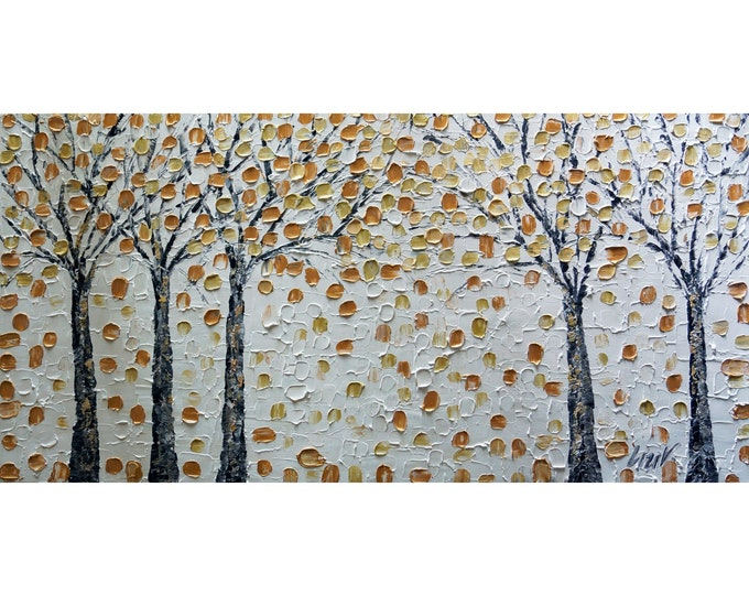 White Gold Trees Peaceful Moments SERENITY Modern Impasto Oil Painting Art for Office
