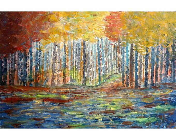 FALL Trees Forest A BEAUTIFUL Bright Afternoon Original Oil Painting  Birch Trees