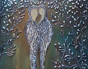 The KISS Original Painting Couple Romance Textured Art Silver Copper White