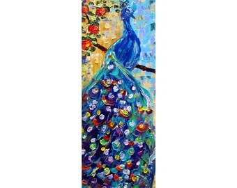 PEACOCK blue bird Original oil painting palette knife fine art on large canvas impressionism Narrow Canvas