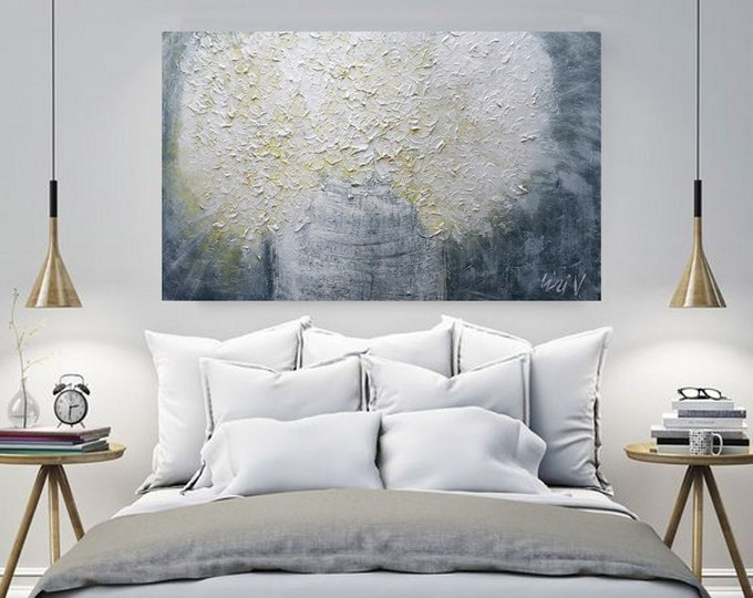 White Washed Gray Flowers Bouquet Original Painting Large Canvas Modern Home Wall Decor Textured Impasto Art by Luiza Vizoli