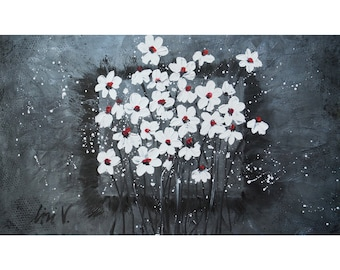 XXL Canvas  Large Painting 60x36 or 72x36 Silver White Gray Black Textured Canvas White Daisies