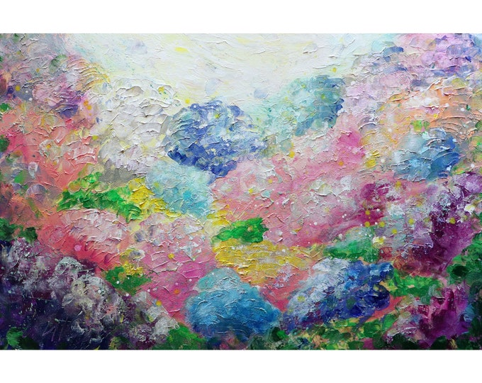 Hydrangea COLORFUL Flowers Oil Painting White Pink Purple Gray Blue Yellow Turquoise Original Art by Luiza Vizoli
