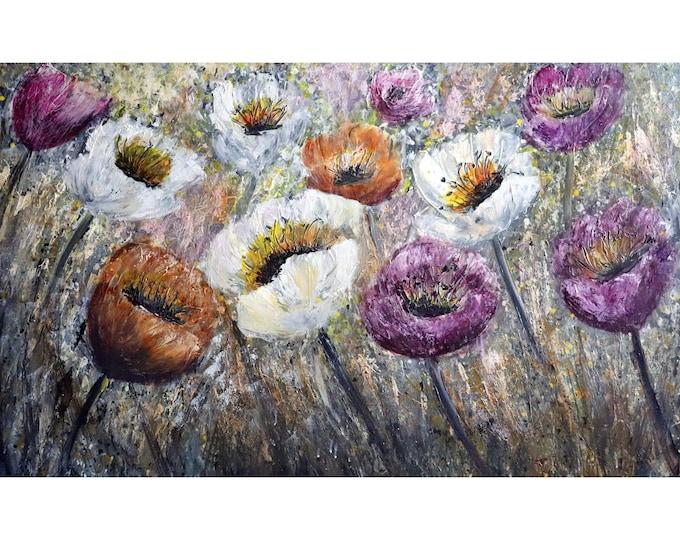 Flowers Mist Modern Home Wall Decor Large Open TULIPS Morning Dew Textured Impasto Art by Luiza Vizoli Extra Large Canvas