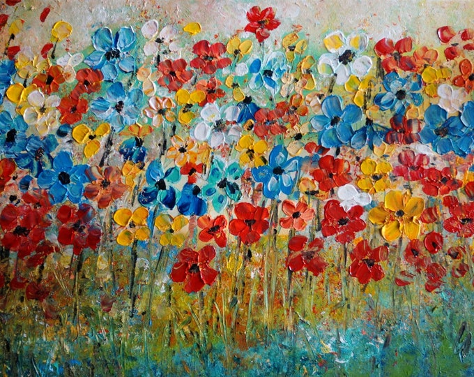 Daisies Colorful Impasto Canvas Painting White, Blue, Yellow, Orange, Red Original Art by Luiza Vizoli